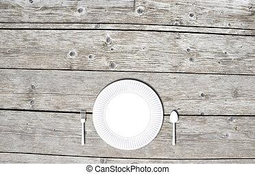 bois, plaque, fourchette, table