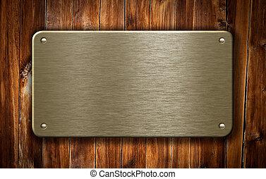 bois, plaque, laiton, métal, fond