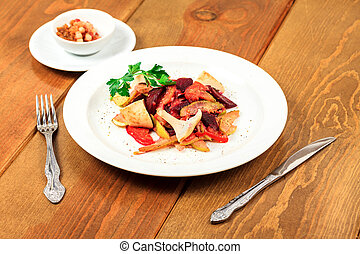 bois, plaque, salade, table