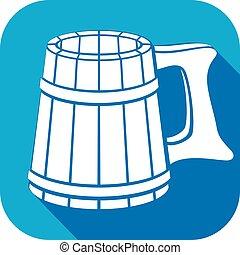 bois, plat, grande tasse bière, icône