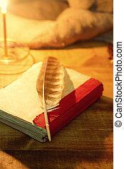bois, plume, livre, vieux, table/