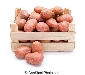 bois, pommes terre, caisse, rouges
