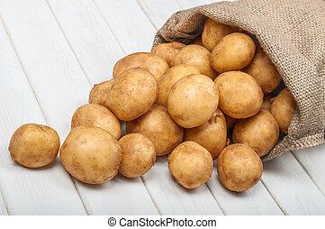 bois, pommes terre, sac, fond, nouveau, blanc