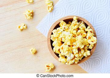 bois, pop-corn, backgroud, bol