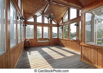 bois, porche, lac, vue