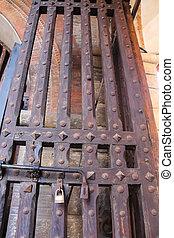 bois, portail, château, ancien, moyen-âge