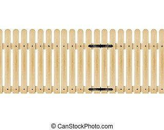 bois, portail, vecteur, illustration, barrière