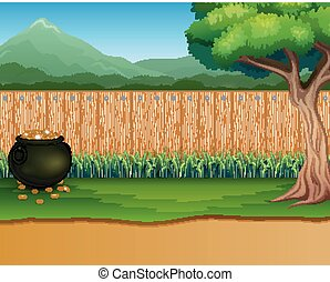 bois, pot, pièces, fond, barrière