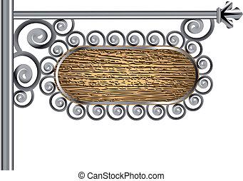 bois, poteau, signe métal
