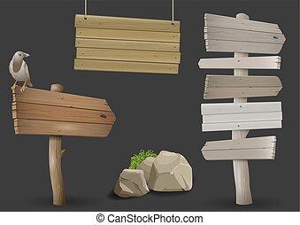 bois, poteaux indicateurs, ensemble, vendange