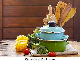 bois, pots, -, coutellerie, table, outils, cuisine