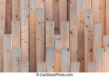 bois, poutres, rang, vertical, nouveau