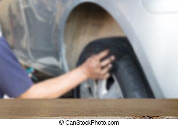 bois, produit, poussière, roue, pneu, donner, voiture, sélectionné, foyer, (blur, exposer, tissu, bord, nettoyage, mécanicien, mains, image), table, ton, vide, soin