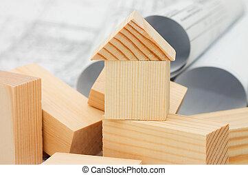 bois, projet, modèle, maison