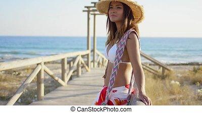 bois, promenade, femme, beachfront, jeune