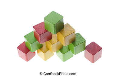 bois, pyramide, cubes