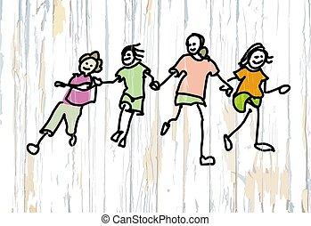 bois, quatre, gosses, fond, doodles
