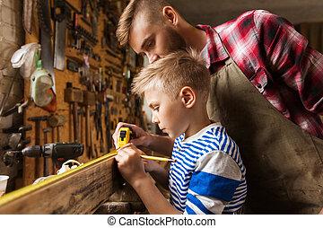 bois, règle, père, fils, atelier, mesure