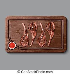 bois, réaliste, planche, viande coupe