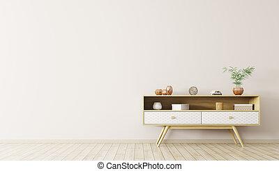 bois, rendre, intérieur, 3d, cabinet