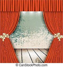 bois, rideau, planchers, théâtre, rouges