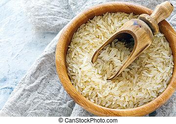 bois, riz, bowl., cuit vapeur, jaune