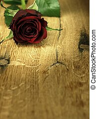 bois, rose, table rouge