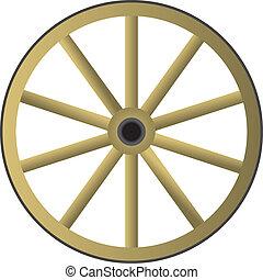 bois, roue, vieux