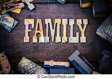 bois, rouillé, lettres, famille, métal, concept