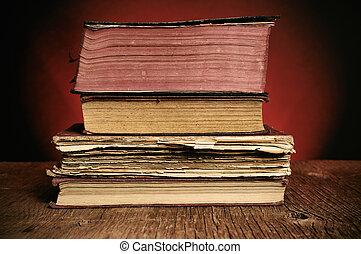 bois, rustique, livres, vieux, table