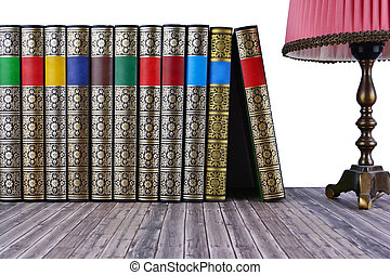 bois, rustique, livres, vieux, table.