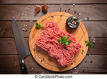bois, rustique, viande hachée, fond