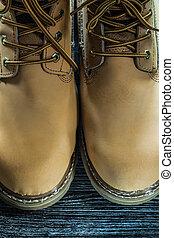 bois, sécurité, planche, bottes, imperméable
