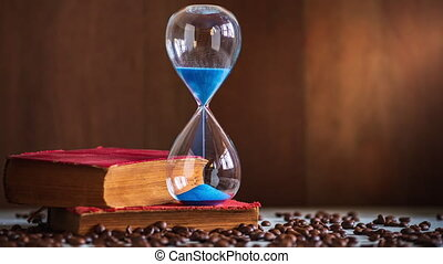 bois, sable, table., horloge