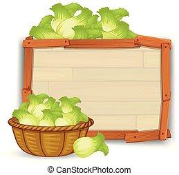 bois, salade verte, planche