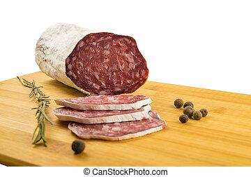 bois, salami, planche