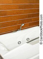 bois, salle bains, angle