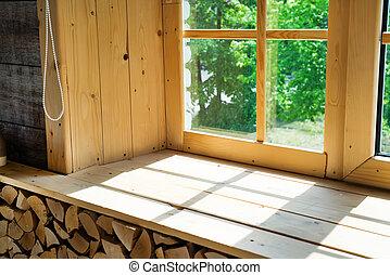 bois, salle, projeté, fenêtre, ombre, rebord, vide