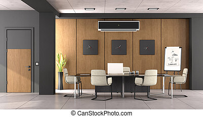 bois, salle réunion, moderne, noir