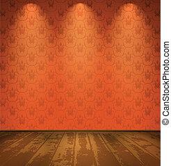 bois, salle, rouges, plancher