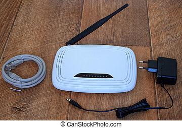 bois, sans fil, wi-fi, table., routeur