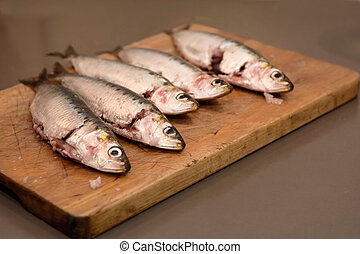 bois, sardines, planche