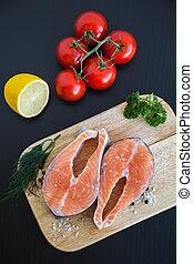 bois, saumon, planche, biftecks