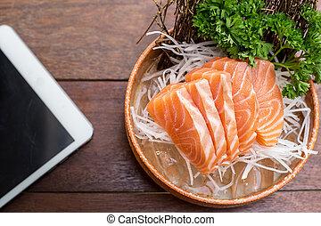 bois, saumon, table., tablette
