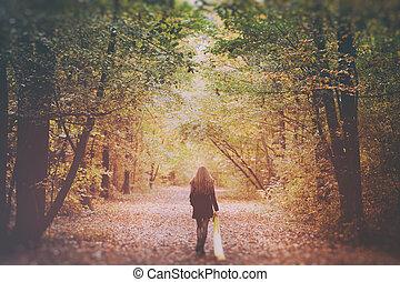 bois, seul, marche, femme, triste