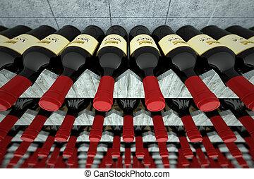 bois, shelf., bouteilles, vin