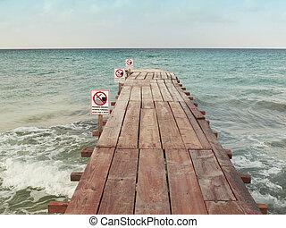 bois, signal, natation, chemin, interdit