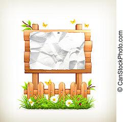 bois, signe, dans, herbe, vecteur