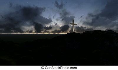 bois, silhouettes, croix