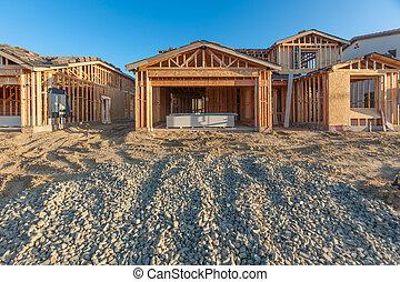 bois, site, maisons, construction, encadrement, nouveau
